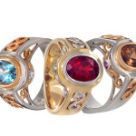 Three gem and gold rings from Jane Wullbrandt - Mucklows Fine Jewelry, 1103 Crosstown Court, Peachtree City, GA 30269