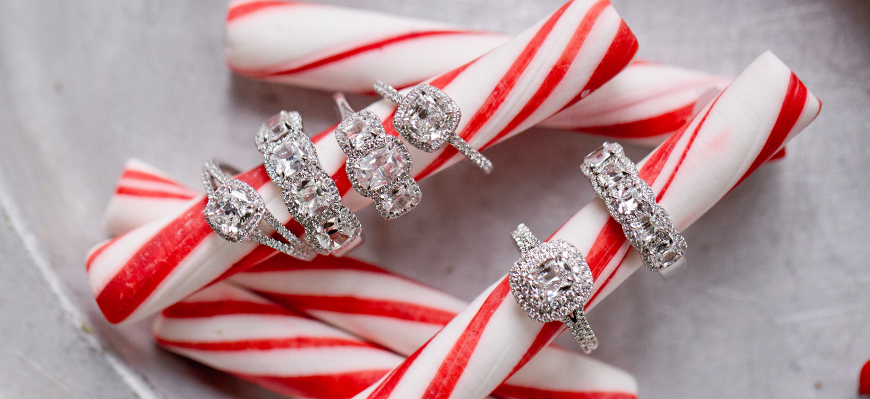 Red & White candy cane with diamond rings - Mucklows Fine Jewelry, 1103 Crosstown Court, Peachtree City, GA 30269